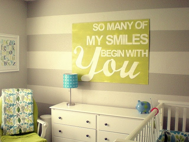 Nursery Idea – Grey and Beige Stripes With Yellow Accents | Baby ...