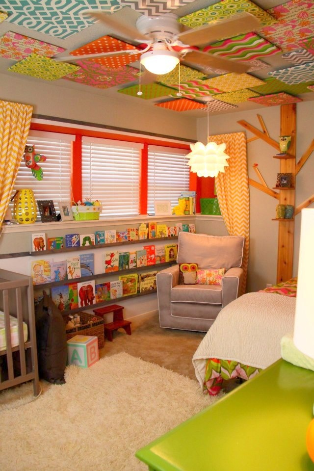 Great ceiling idea for baby s room baby room ideas for Fabrics for children s rooms