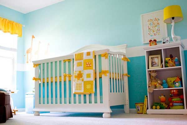 Gorgeous teal and yellow nursery baby room ideas for Baby boy room paint ideas