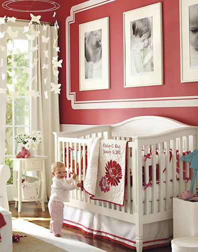 Unisex nursery red : Isn t this a gorgeous red nursery the royal and white go soo well ...