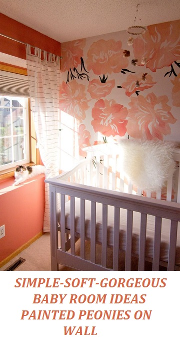 painted peonies ON WALL, baby girl nursery ideas