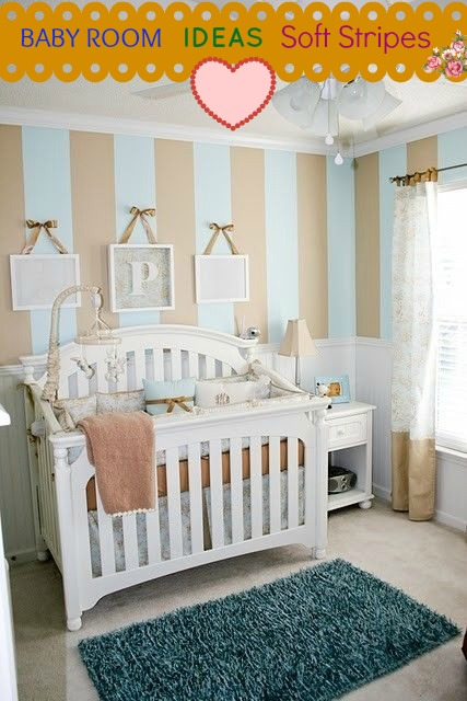 beige baby room with stripes
