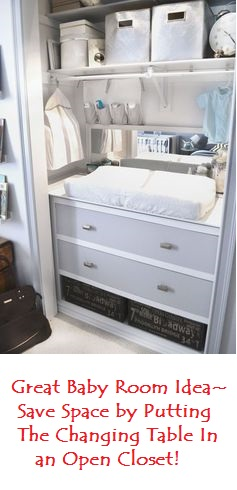 Put the changing table in an open closet -- good way to save space in the baby's room