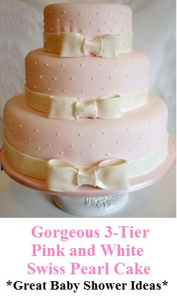 3-Tier Pink and White Swiss Pearl Cake » Christening Cakes