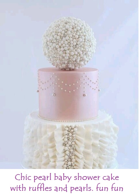 Chic pearl cake baby shower or little girls cake ruffles and pearls