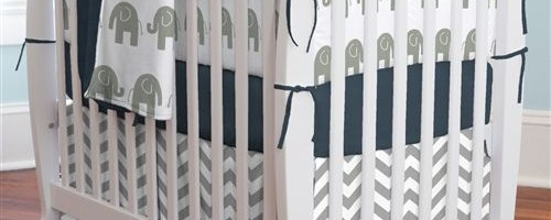 Navy and Gray Elephants Mini Crib Bumper by Carousel Designs