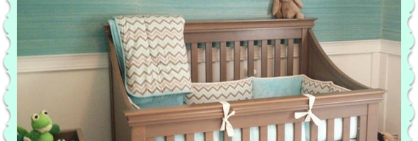 reat crib with storage beneath. And gorgeous grasscloth wallpaper. House of Turquoise- Coastal Inspired Nursery