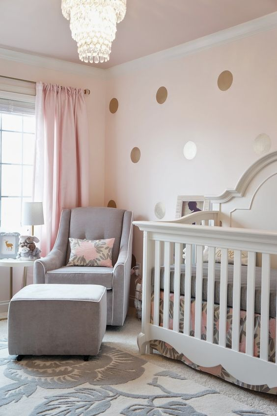 Grey Nursery Golden Dots