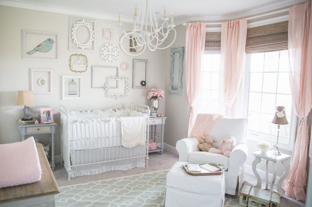 Beige Room With Pink And Mint Accents