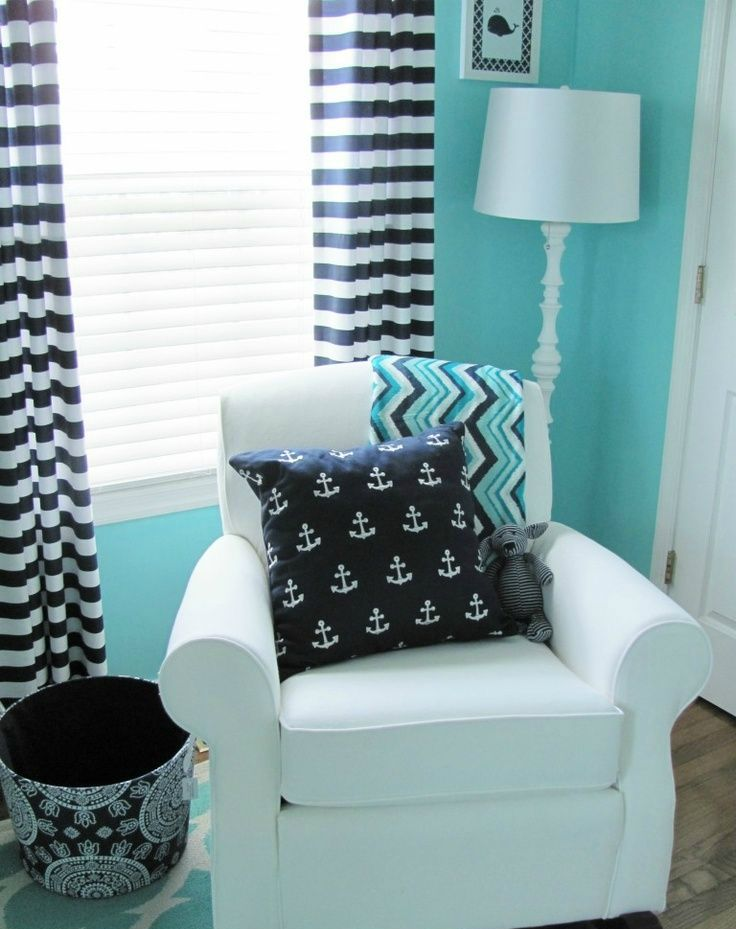 Turquoise Nursery 2 Black Stripe Accents 8695c7a1019b5ed9065136168e927939